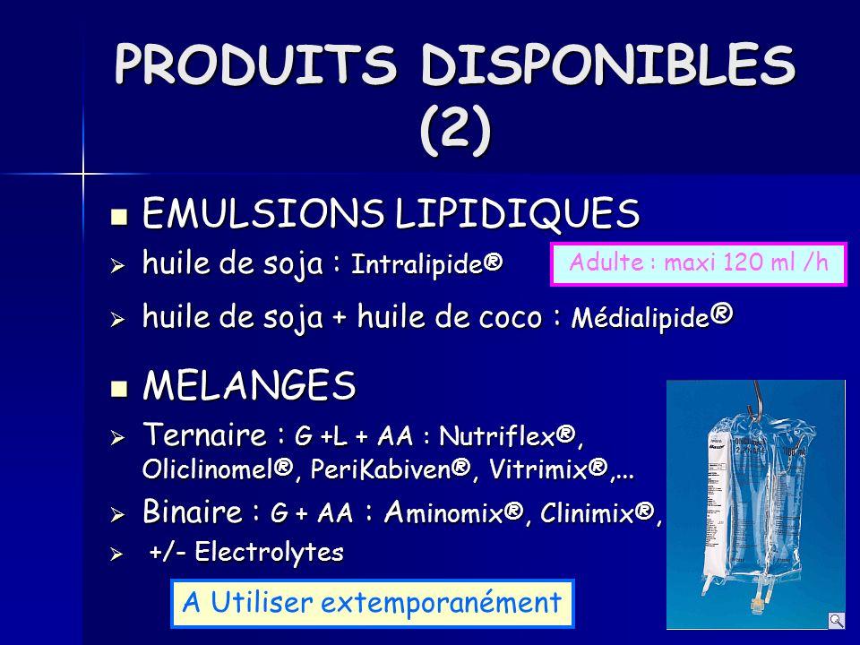 EMULSIONS LIPIDIQUES EMULSIONS LIPIDIQUES huile de soja : Intralipide® huile de soja : Intralipide® huile de soja + huile de coco : Médialipide ® huil