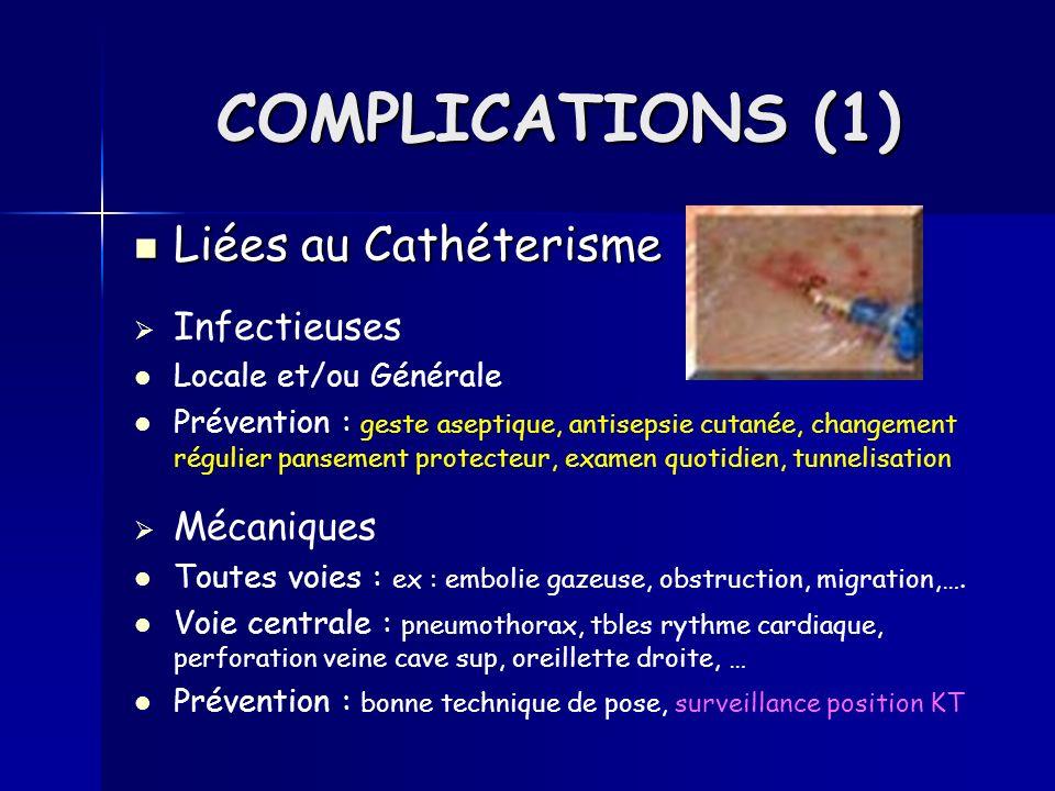 Liées au Cathéterisme Liées au Cathéterisme Infectieuses Locale et/ou Générale Prévention : geste aseptique, antisepsie cutanée, changement régulier p