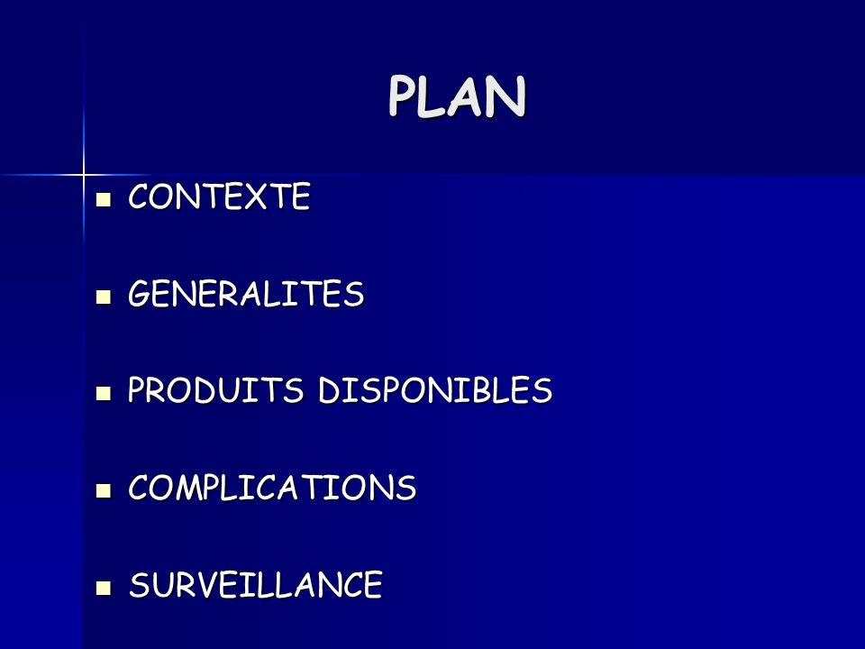 PLAN CONTEXTE CONTEXTE GENERALITES GENERALITES PRODUITS DISPONIBLES PRODUITS DISPONIBLES COMPLICATIONS COMPLICATIONS SURVEILLANCE SURVEILLANCE