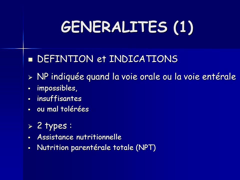 GENERALITES (1) DEFINTION et INDICATIONS DEFINTION et INDICATIONS NP indiquée quand la voie orale ou la voie entérale NP indiquée quand la voie orale