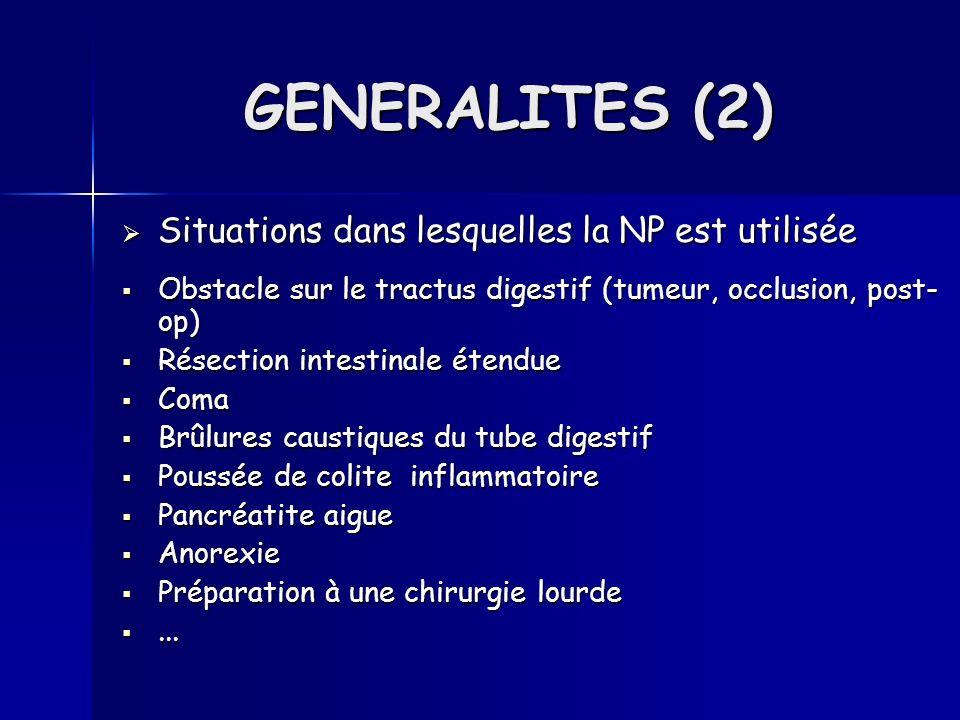 Situations dans lesquelles la NP est utilisée Situations dans lesquelles la NP est utilisée Obstacle sur le tractus digestif (tumeur, occlusion, post-