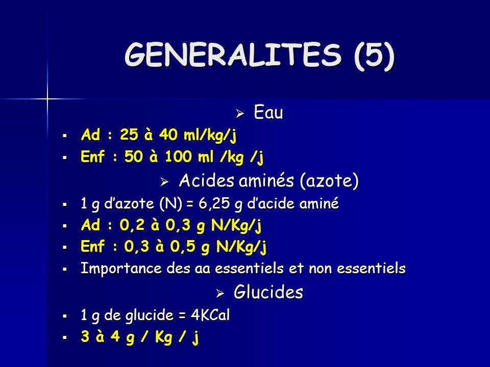 Eau Eau Ad : 25 à 40 ml/kg/j Ad : 25 à 40 ml/kg/j Enf : 50 à 100 ml /kg /j Enf : 50 à 100 ml /kg /j Acides aminés (azote) Acides aminés (azote) 1 g da