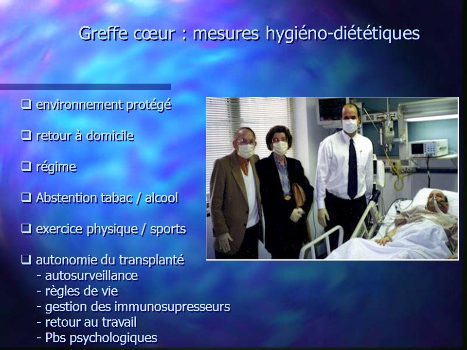 Greffe cœur : mesures hygiéno-diététiques environnement protégé retour à domicile régime Abstention tabac / alcool exercice physique / sports autonomi