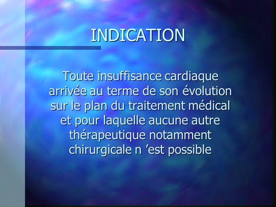 INDICATION Toute insuffisance cardiaque arrivée au terme de son évolution sur le plan du traitement médical et pour laquelle aucune autre thérapeutiqu