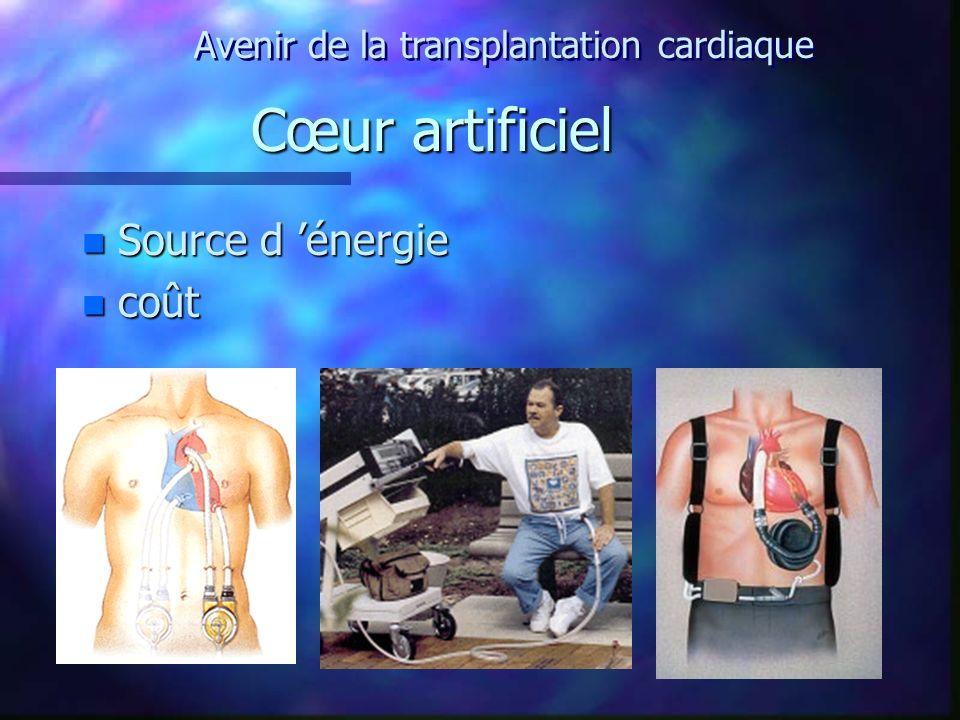 Cœur artificiel n Source d énergie n coût Avenir de la transplantation cardiaque