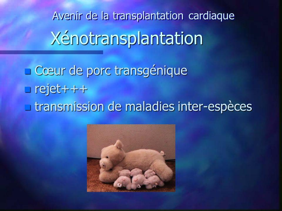 Xénotransplantation n Cœur de porc transgénique n rejet+++ n transmission de maladies inter-espèces Avenir de la transplantation cardiaque