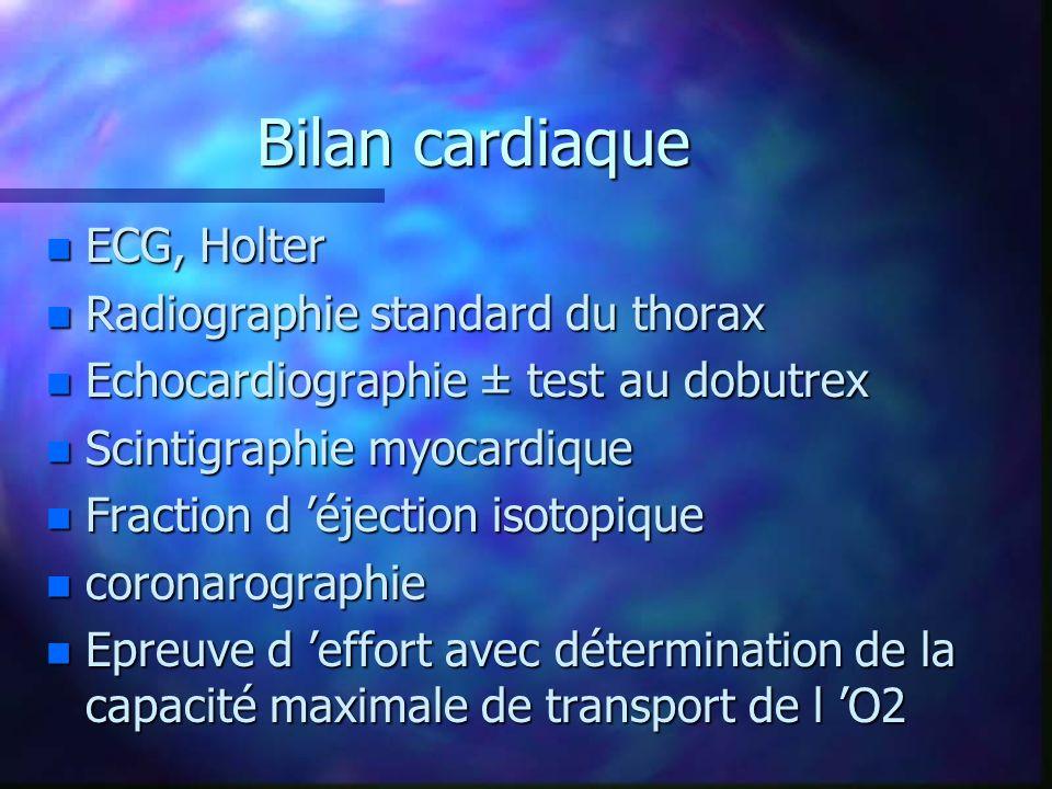 Bilan cardiaque n ECG, Holter n Radiographie standard du thorax n Echocardiographie ± test au dobutrex n Scintigraphie myocardique n Fraction d éjecti