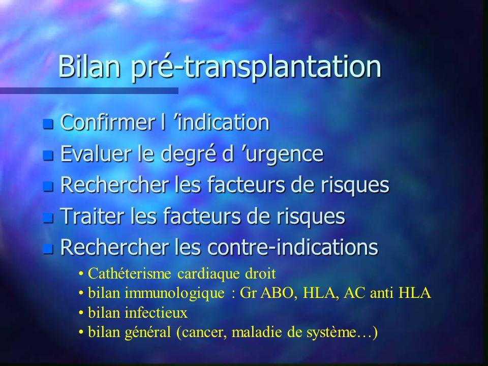 Bilan pré-transplantation n Confirmer l indication n Evaluer le degré d urgence n Rechercher les facteurs de risques n Traiter les facteurs de risques