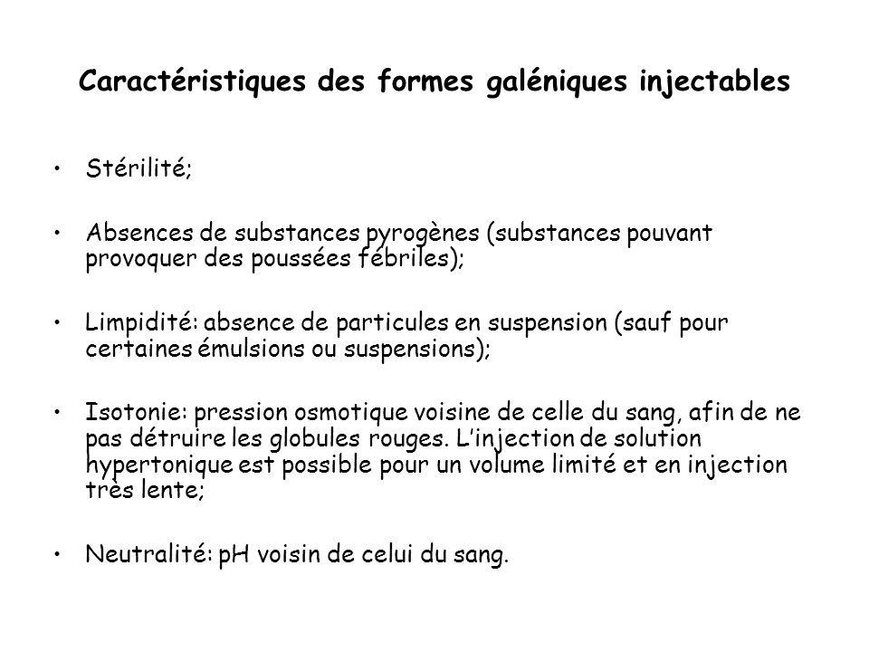 Caractéristiques des formes galéniques injectables Stérilité; Absences de substances pyrogènes (substances pouvant provoquer des poussées fébriles); L