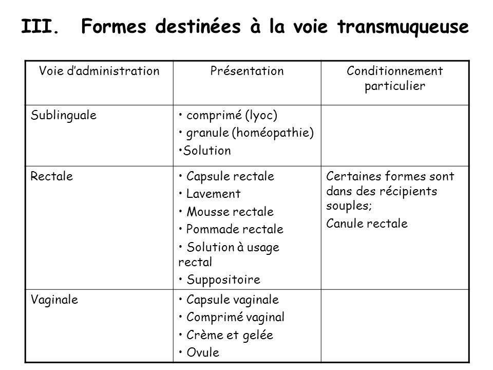 III.Formes destinées à la voie transmuqueuse Voie dadministrationPrésentationConditionnement particulier Sublinguale comprimé (lyoc) granule (homéopat