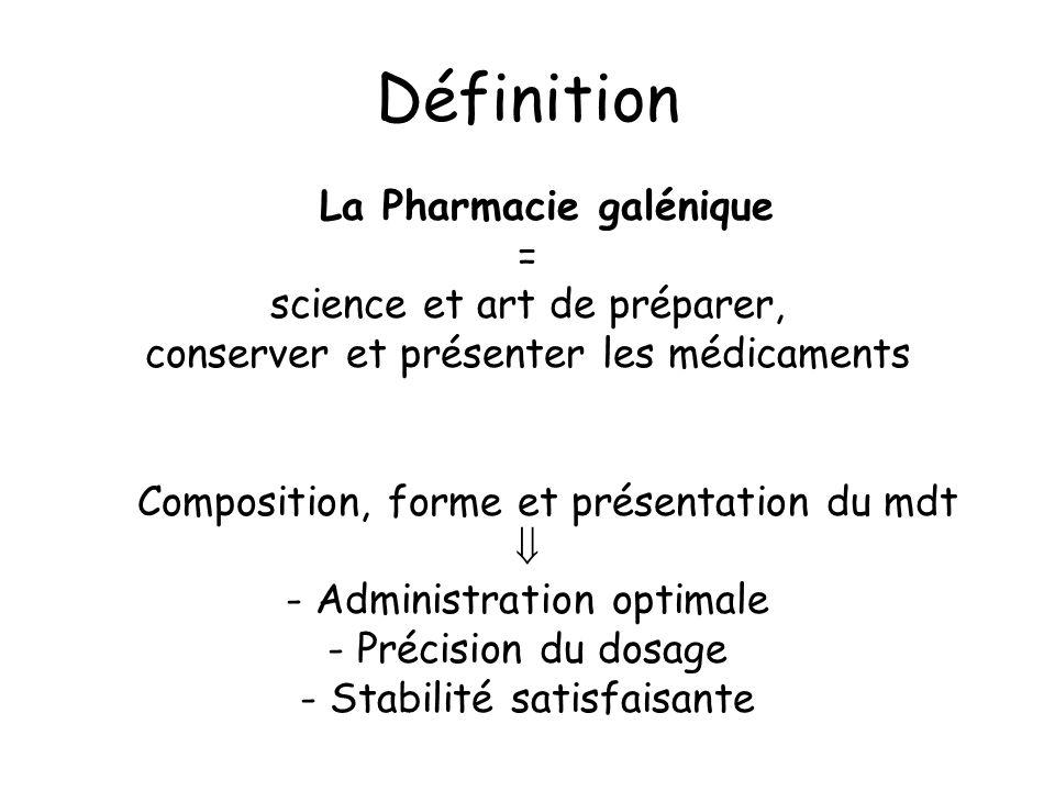Définition La Pharmacie galénique = science et art de préparer, conserver et présenter les médicaments Composition, forme et présentation du mdt - Adm