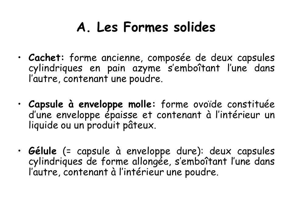 A. Les Formes solides Cachet: forme ancienne, composée de deux capsules cylindriques en pain azyme semboîtant lune dans lautre, contenant une poudre.