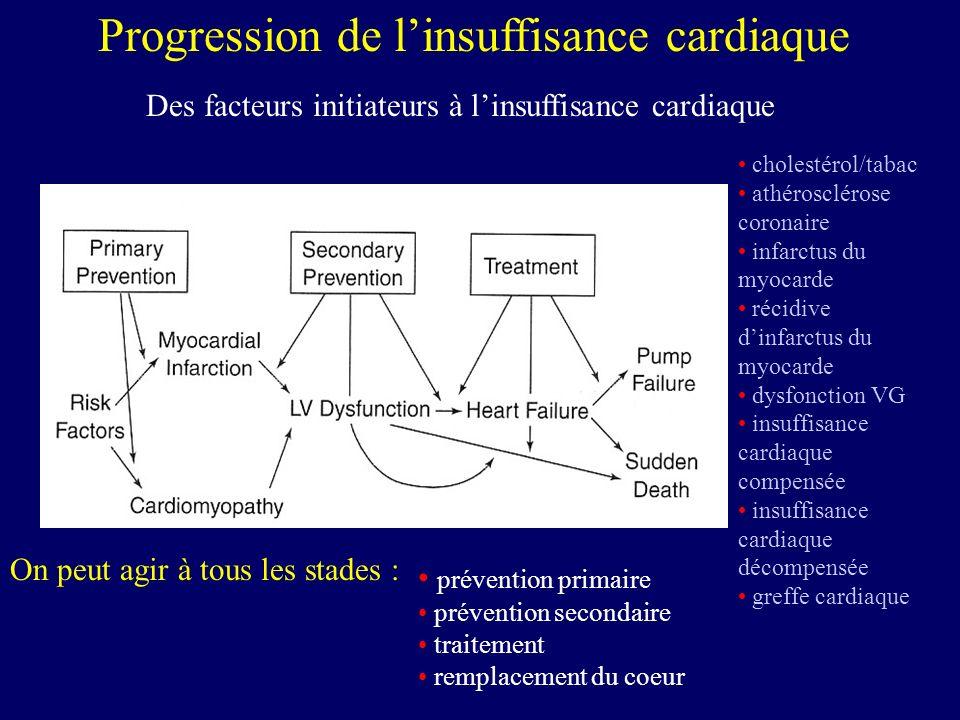 maladie coronarienne (infarctus itératifs) (60%) cardiomyopathies (30%) atteintes valvulaires (5%) causes diverses (5%) Insuffisance cardiaque : Causes Insuffisance cardiaque : Causes de progression remodelage et dilatation insuffisance mitrale et/ou tricuspide causes diverses de décompensation (infection…) troubles du rythme effets néfastes des neuro-hormones apoptose : nécrose (perte de cellules cardiaques)
