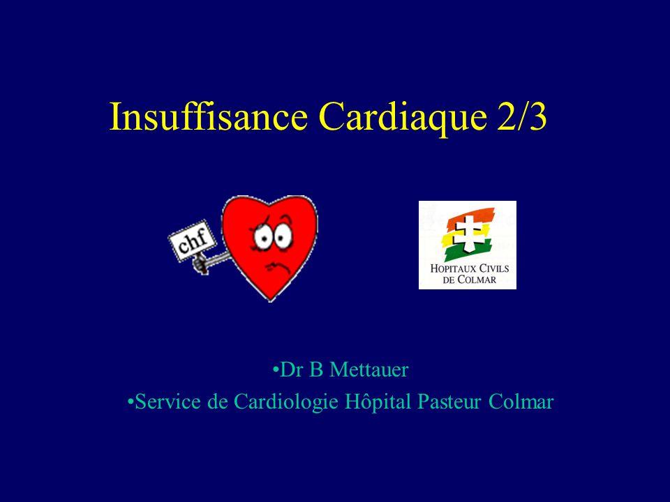 Insuffisance cardiaque : pronostic Un pronostic sévère Du type de celui des cancers 50% par progression de lIC (prévisible) 50% par mort subite (imprévisible) Mécanismes du décès: