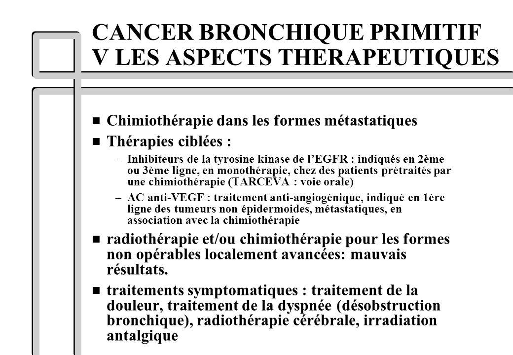 n Chimiothérapie dans les formes métastatiques n Thérapies ciblées : –Inhibiteurs de la tyrosine kinase de lEGFR : indiqués en 2ème ou 3ème ligne, en