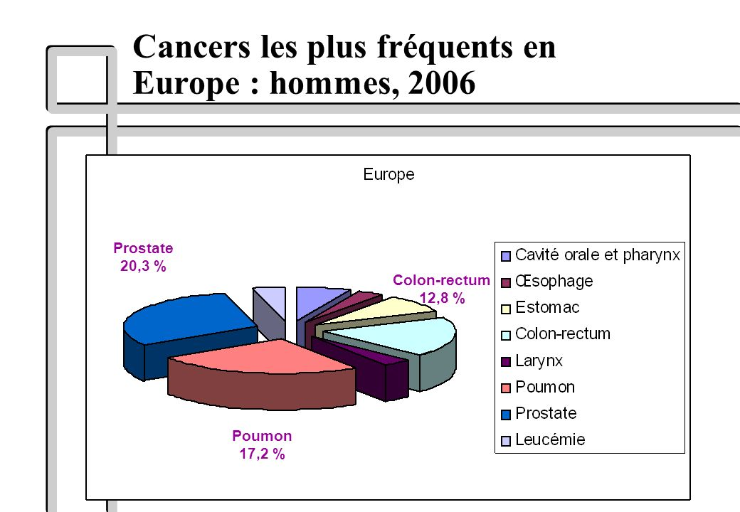 Cancers les plus fréquents en Europe : hommes, 2006 Poumon 17,2 % Prostate 20,3 % Colon-rectum 12,8 %