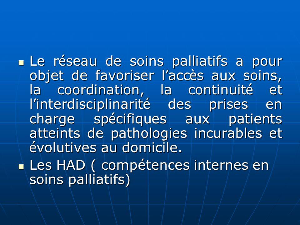 Le r é seau de soins palliatifs a pour objet de favoriser l acc è s aux soins, la coordination, la continuit é et l interdisciplinarit é des prises en