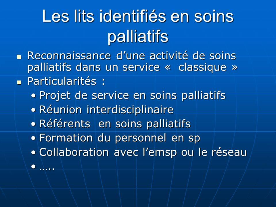 Les lits identifiés en soins palliatifs Reconnaissance dune activité de soins palliatifs dans un service « classique » Reconnaissance dune activité de