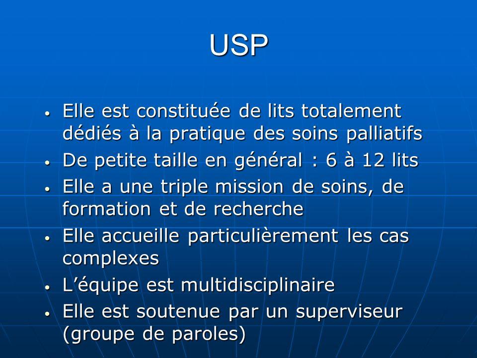 USP Elle est constituée de lits totalement dédiés à la pratique des soins palliatifs Elle est constituée de lits totalement dédiés à la pratique des s