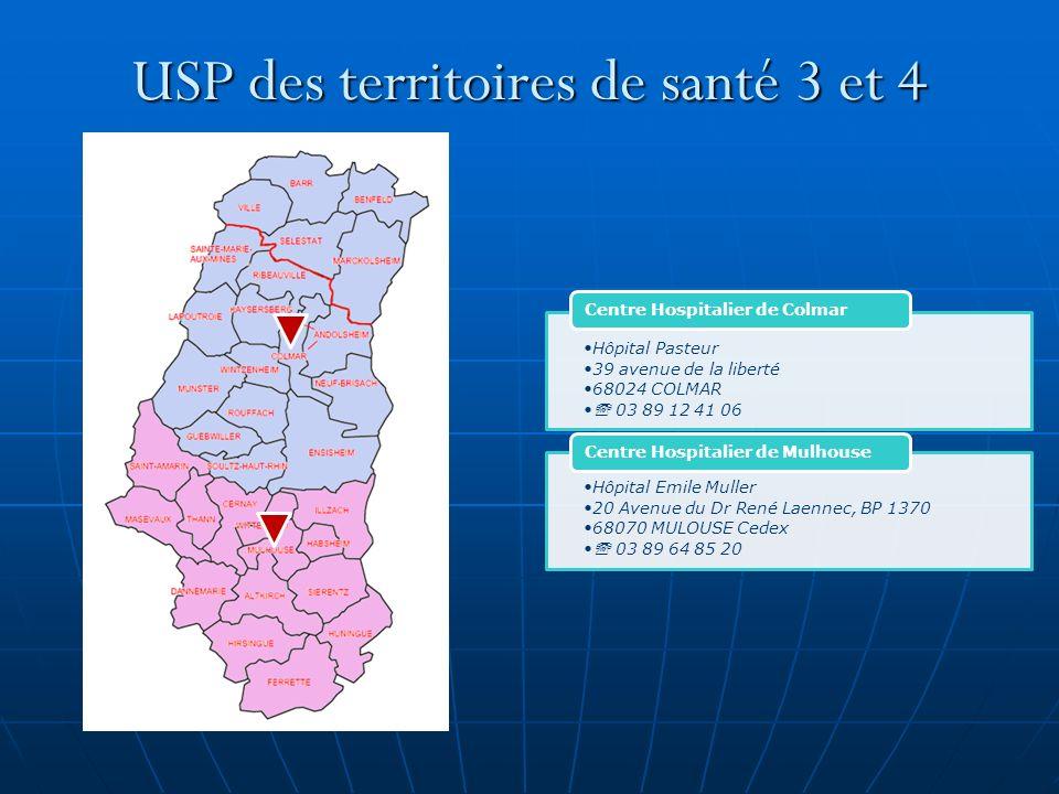 USP des territoires de santé 3 et 4 Hôpital Pasteur 39 avenue de la liberté 68024 COLMAR 03 89 12 41 06 Centre Hospitalier de Colmar Hôpital Emile Mul