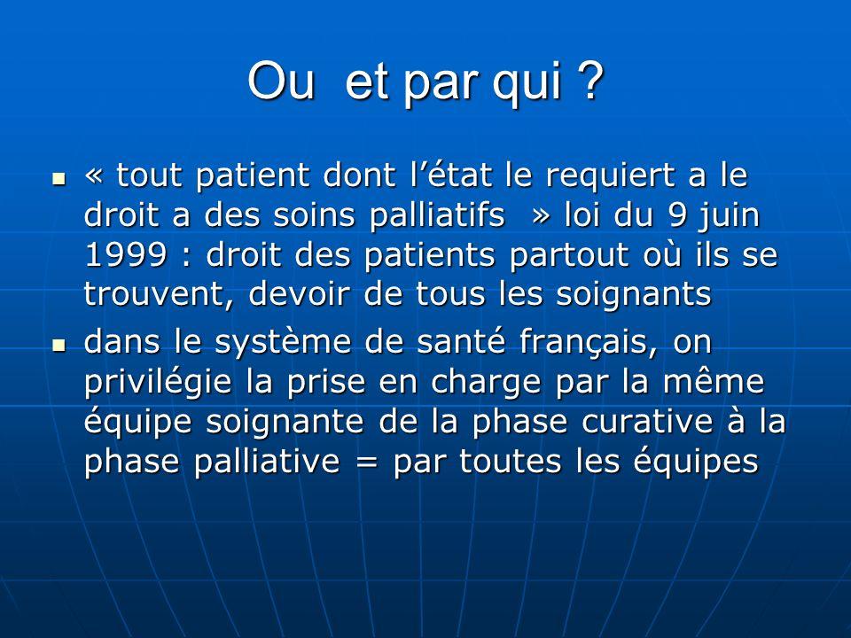 Ou et par qui ? « tout patient dont létat le requiert a le droit a des soins palliatifs » loi du 9 juin 1999 : droit des patients partout où ils se tr