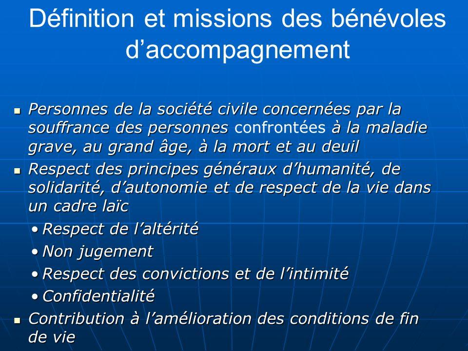 Définition et missions des bénévoles daccompagnement Personnes de la société civile concernées par la souffrance des personnes à la maladie grave, au