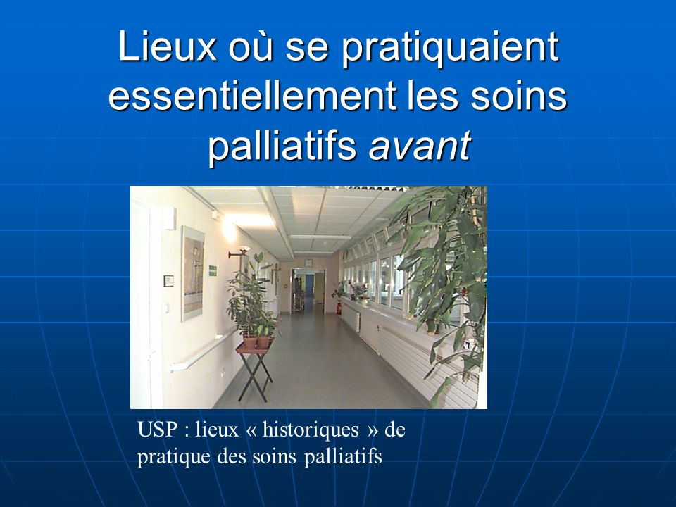 Lieux où se pratiquent les soins palliatifs aujourdhui USP Services conventionnels SSR Domicile où équivalents