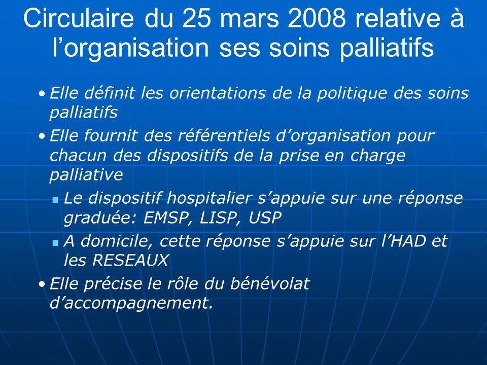 Circulaire du 25 mars 2008 relative à lorganisation ses soins palliatifs Elle définit les orientations de la politique des soins palliatifs Elle fourn
