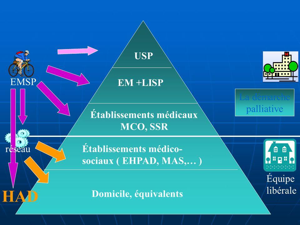 Établissements médicaux MCO, SSR Établissements médico- sociaux ( EHPAD, MAS,… ) Domicile, équivalents HAD EM +LISP USP EMSP réseau Équipe libérale La