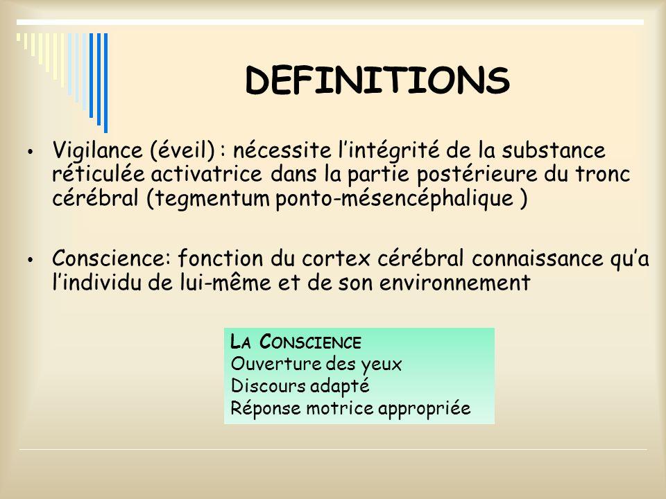 DEFINITIONS Vigilance (éveil) : nécessite lintégrité de la substance réticulée activatrice dans la partie postérieure du tronc cérébral (tegmentum pon