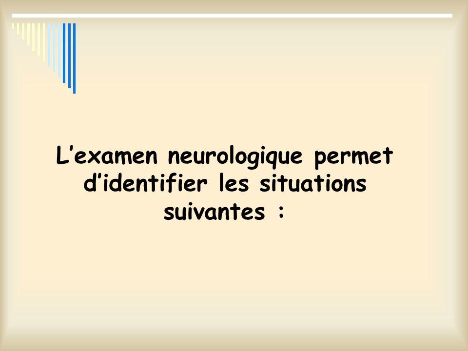 Lexamen neurologique permet didentifier les situations suivantes :