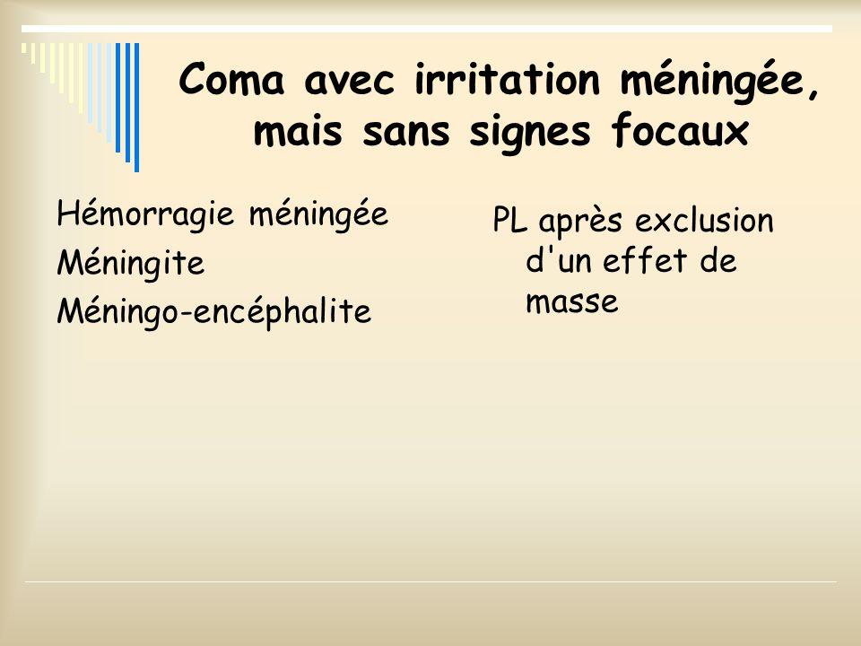 Coma avec irritation méningée, mais sans signes focaux Hémorragie méningée Méningite Méningo-encéphalite PL après exclusion d'un effet de masse