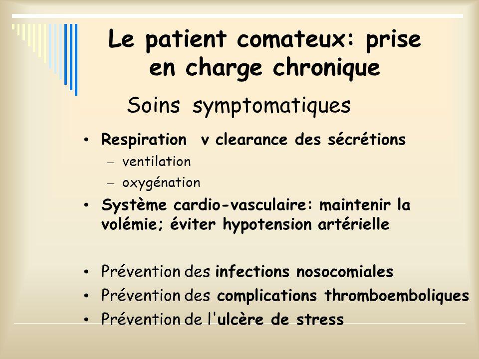 Le patient comateux: prise en charge chronique Respirationv clearance des sécrétions – ventilation – oxygénation Système cardio-vasculaire: maintenir