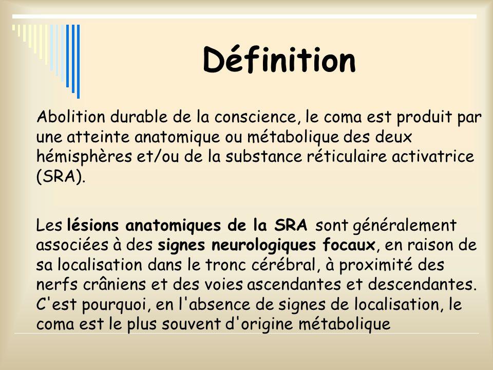 Définition Abolition durable de la conscience, le coma est produit par une atteinte anatomique ou métabolique des deux hémisphères et/ou de la substan
