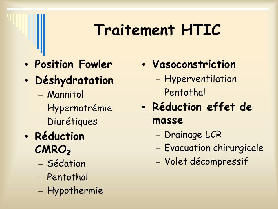 Traitement HTIC Position Fowler Déshydratation – Mannitol – Hypernatrémie – Diurétiques Réduction CMRO 2 – Sédation – Pentothal – Hypothermie Vasocons