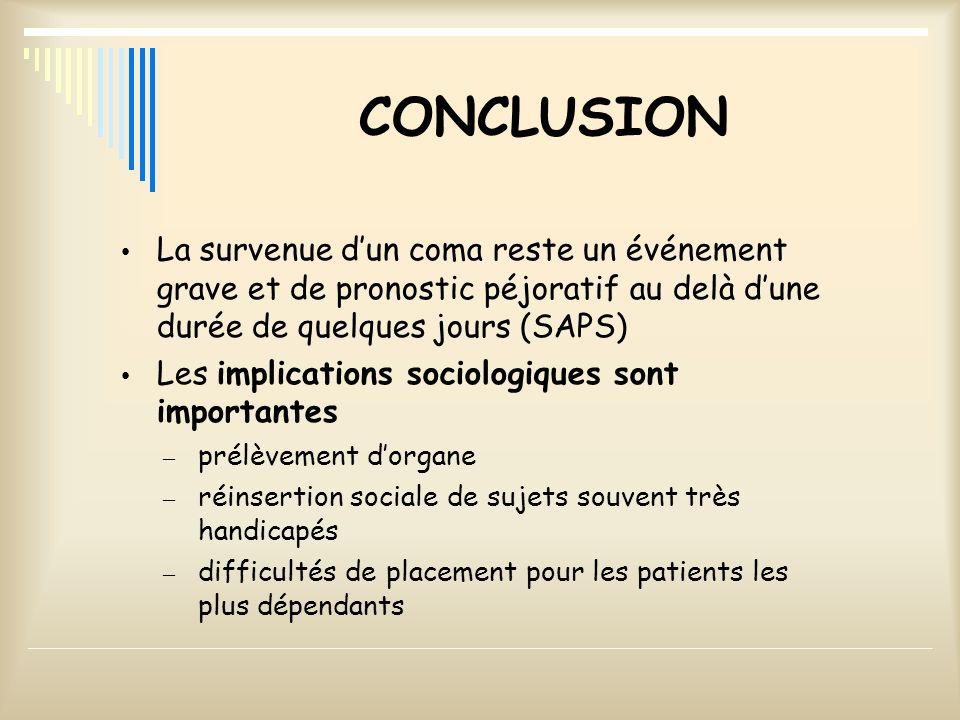 CONCLUSION La survenue dun coma reste un événement grave et de pronostic péjoratif au delà dune durée de quelques jours (SAPS) Les implications sociol