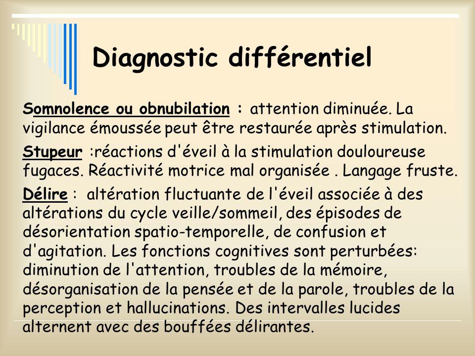 Diagnostic différentiel Somnolence ou obnubilation : attention diminuée. La vigilance émoussée peut être restaurée après stimulation. Stupeur :réactio