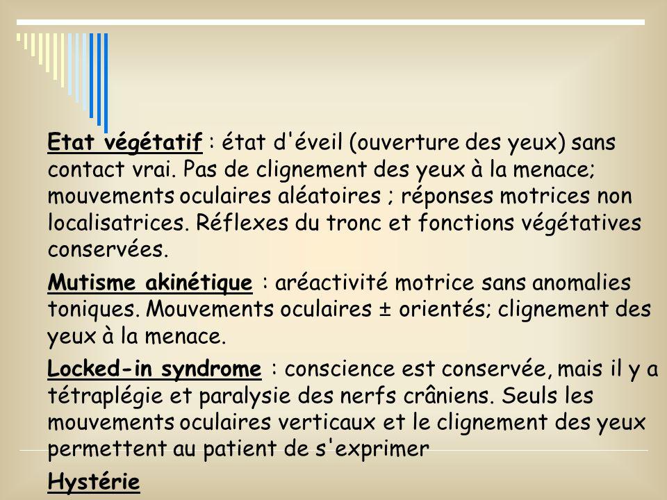 COMPLICATIONS PRECOCES: Respiratoires: hypoxie, asphyxie, apnée Circulatoires: TA élevée ou basse, T.rythme Hypothermie Cutanéo-musculaires: escarres, rhabdomyolyse Rénales: Déhydratation, insuff.
