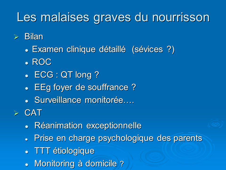 Les malaises graves du nourrisson Bilan Bilan Examen clinique détaillé (sévices ?) Examen clinique détaillé (sévices ?) ROC ROC ECG : QT long ? ECG :