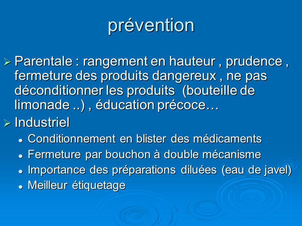 prévention Parentale : rangement en hauteur, prudence, fermeture des produits dangereux, ne pas déconditionner les produits (bouteille de limonade..),