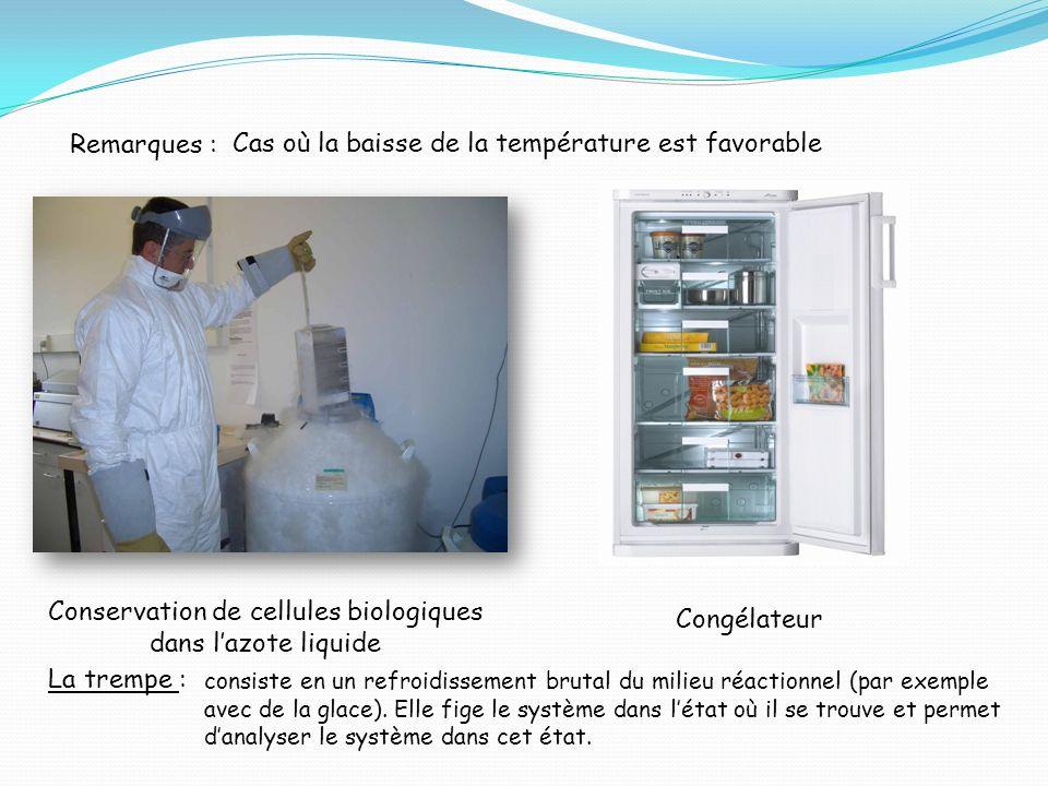 Remarques : Cas où la baisse de la température est favorable Conservation de cellules biologiques dans lazote liquide Congélateur La trempe : consiste