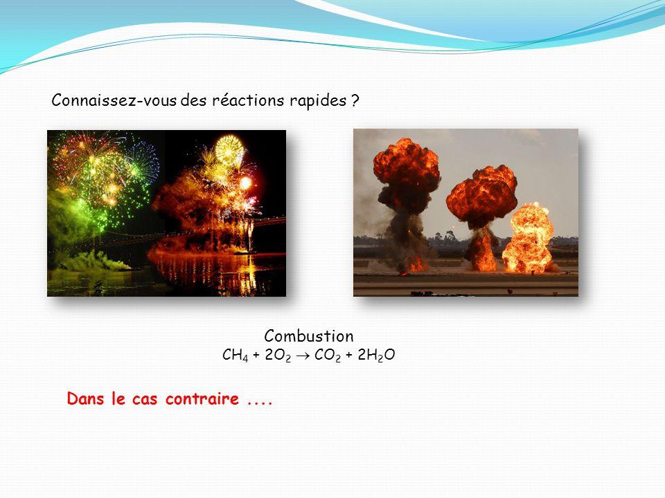 Connaissez-vous des réactions rapides ? Combustion CH 4 + 2O 2 CO 2 + 2H 2 O Dans le cas contraire....