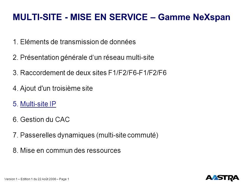 Version 1 – Edition 1 du 22 Août 2006 – Page 1 MULTI-SITE - MISE EN SERVICE – Gamme NeXspan 1. Eléments de transmission de données 2. Présentation gén