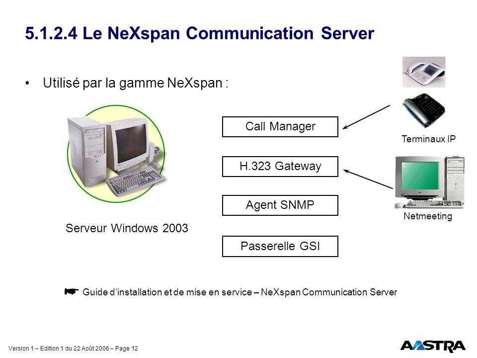 Version 1 – Edition 1 du 22 Août 2006 – Page 12 5.1.2.4 Le NeXspan Communication Server Utilisé par la gamme NeXspan : Guide dinstallation et de mise