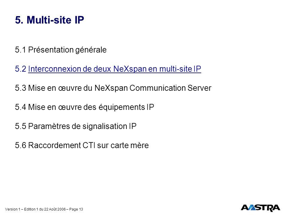 Version 1 – Edition 1 du 22 Août 2006 – Page 13 5. Multi-site IP 5.1 Présentation générale 5.2 Interconnexion de deux NeXspan en multi-site IP 5.3 Mis