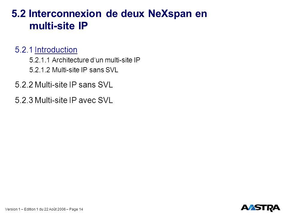 Version 1 – Edition 1 du 22 Août 2006 – Page 14 5.2 Interconnexion de deux NeXspan en multi-site IP 5.2.1 Introduction 5.2.1.1 Architecture dun multi-