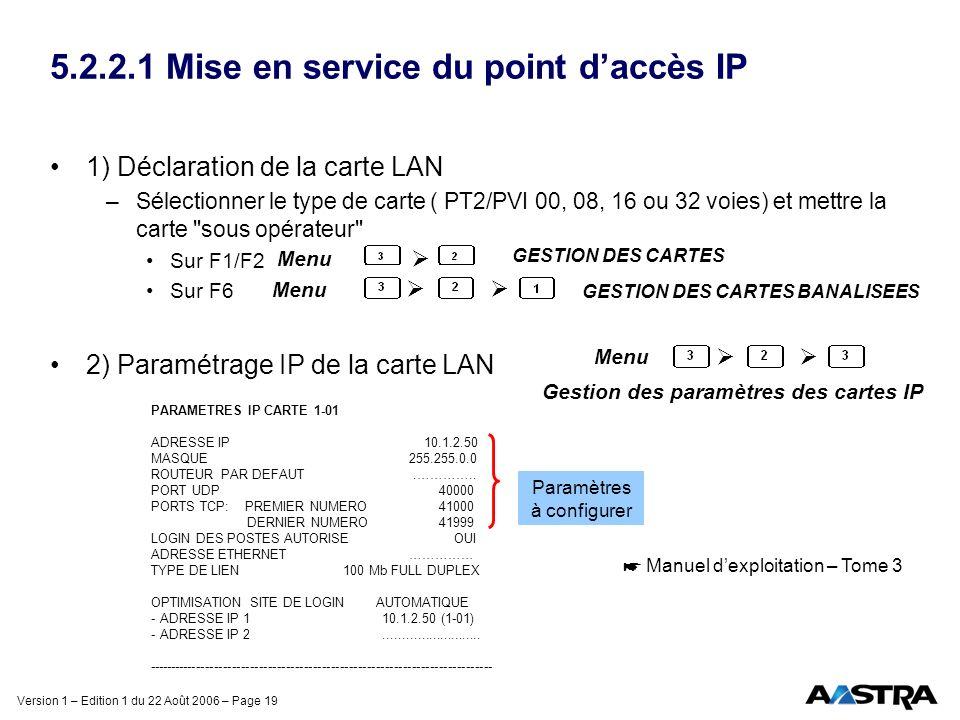 Version 1 – Edition 1 du 22 Août 2006 – Page 19 5.2.2.1 Mise en service du point daccès IP 1) Déclaration de la carte LAN –Sélectionner le type de car