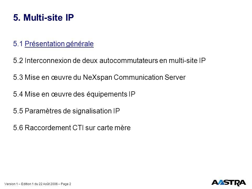 Version 1 – Edition 1 du 22 Août 2006 – Page 43 5.2 Interconnexion de deux NeXspan en multi-site IP 5.2.1 Introduction 5.2.2 Multi-site IP sans SVL 5.2.2.1 Mise en service du point d accès IP 5.2.2.2 Déclaration de la passerelle IP 5.2.2.3 Préparation multi-site 5.2.2.4 Montage des ressources de données 5.2.2.5 Sélection des ressources 5.2.2.6 Déclaration de la passerelle sémaphore 5.2.2.7 Configuration du faisceau VOIP 5.2.2.8 Paramètres supplémentaires 5.2.3 Multi-site IP avec SVL
