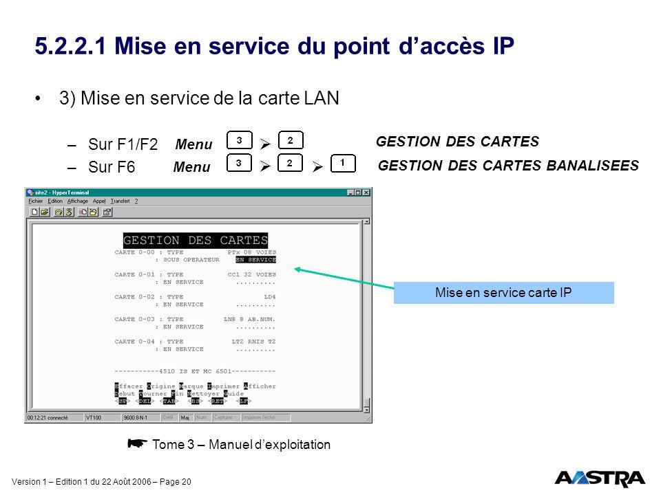 Version 1 – Edition 1 du 22 Août 2006 – Page 20 5.2.2.1 Mise en service du point daccès IP 3) Mise en service de la carte LAN –Sur F1/F2 –Sur F6 Menu