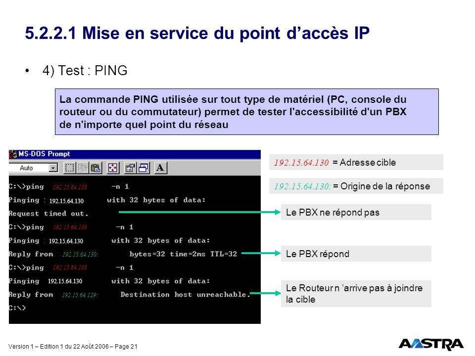 Version 1 – Edition 1 du 22 Août 2006 – Page 21 5.2.2.1 Mise en service du point daccès IP 4) Test : PING La commande PING utilisée sur tout type de m